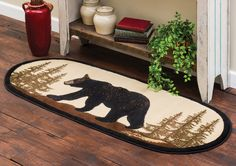 Walking Bear Oval Rug - A Black Forest Decor Exclusive - Featuring a black bear scene in brown, pine green, black, natural and gold, this soft polypropylene pile oval rug offers classic lodge appeal. Black Bear Decor, Black Forest Decor, Rustic Area Rugs, Bear Rug, Oval Rugs, Bear Theme, Cabin Design, Design Design, Lodge Decor