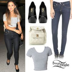 Ariana Grande Outfit You can get the look with a Forever 21 Quilted Faux Leather Backpack, Steve Madden Pumps and jeans from Forever Ariana Grande Outfits, Ariana Grande 2016, Teen Fashion, Fashion Outfits, Sporty Outfits, Dark Wash Jeans, High Jeans, Her Style, American Apparel