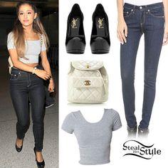 Ariana Grande: Grey Crop Tee, Dark Wash Jeans