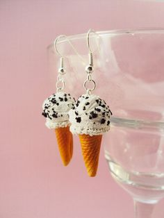 Cookie and vanilla ice cream cone earrings, cute jewelry, girly, femitrash