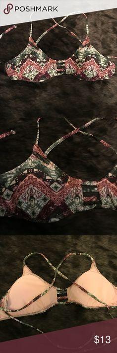Tribal Bikini top Tribal pattern maroon and green. Bralette style bikini with crisscross back Tilly's Swim Bikinis