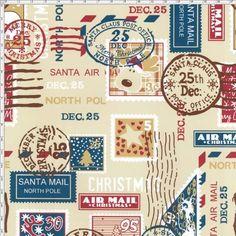 Tecido Estampado para Patchwork - 22450/01 Selos Natal  100% Algodão - 1,40m de largura   Fabricante:  Telanipo