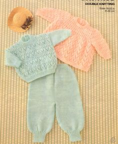 Baby knitting pattern for Angel top/Dress, Sweater and Trousers/Pants Sizes include 16 to 22 inch chest - see chart below for babys ages Uses DK/Light worsted yarn AGE CHEST/Pat. Size Weight Premature ins up to Birth ins 3 months 18 ins 6 months 9 Baby Knitting Patterns, Baby Patterns, Vintage Patterns, Crochet Patterns, Sweaters And Leggings, Dresses With Leggings, Pants Pattern, Top Pattern, Baby Jumper