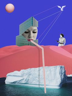 """By Jaume Serra Cantallops Collage, """"Iceberg Limited Edition Collage Print 1 of 10"""""""