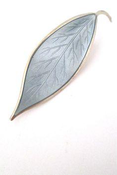 David-Andersen, Norway - vintage silver & enamel 'grey leaf' brooch by Willy Winnaess