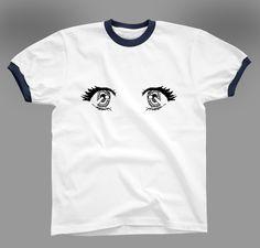アイドルの瞳のイラスト入りのRinger Tシャツです。体操服っぽい感じとアニメの瞳がマッチしています!