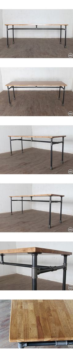 Perfect design with center support for weight of laminate countertop on studio work table. Add locking casters and more pipes to create side shelving. (Need To Try Design Studios) Pipe Furniture, Industrial Furniture, Industrial Style, Industrial Pipe, Furniture Vintage, Industrial Workbench, Furniture Design, Kitchen Industrial, Funky Furniture