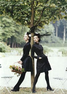 US Vogue October 1994 Paris Couture: In the Grand Tradition Photographer: Steven Meisel Models: Trish Goff, Shalom Harlow and Kirsty Hume Styling: Grace Coddington Makeup: François Nars Hair: Garren