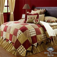 Country Red Patchwork Twin Queen Cal King Quilt Bed In A Bag Linen Bedding Set | eBay Cotton Bedding Sets, Bed Linen Sets, Bed Sets, King Quilt Bedding, King Bedding Sets, Queen Quilt, Queen Bedding, Comforter, Star Bedding
