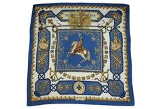 """Hermès Louis XIV silk scarf in virtually unused condition with its original box. In the scarf's printing is """"LVDOVICVS MAGNVS,"""" which translates as """"Louis the Great,"""" and depicts Louis XIV on horseback. Designed by de la Perrière in 1963. Found near Rouen in the west of France 