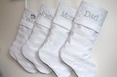 Order before October 31st to take advantage of these early bird prices!    This listing is for 1 White Striped Christmas Stocking as shown in the