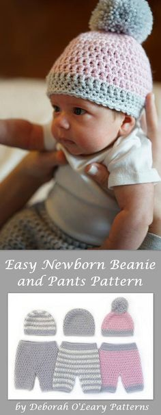 Crochet Baby Beanie and Pants Pattern - Pants - Shorts - Overalls - Beanie by Deborah O'Leary Patterns #crochet #easy #patterns #baby #newborn