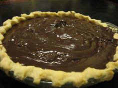 "Another pinner says,This is described as a ""family secret"" Chocolate Pie Recipe"