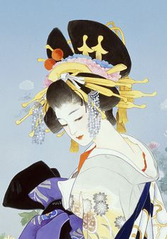 Japanese art by Haruyo Morita Japanese Drawings, Japanese Artwork, Japanese Painting, Japanese Prints, Japanese Design, Japanese Kimono, Geisha Kunst, Geisha Art, Geisha Anime