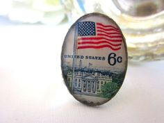 American Flag Vintage Stamp Ring