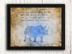 Excited to share the latest addition to my #etsy shop: Vegan PDF, Animal Rights, Vegan Gift, Vegan Poster, Respect Quotes, Vegan Art, Vegan Print, Animal Prints, Rhinoceros, Animal Activist http://etsy.me/2BJj9Ou #housewares #homedecor #brown #living #blue #painting #a