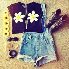 Daisy Themed! Crop Top + Leather Booties + denim Overall + Shades * Flower Crown