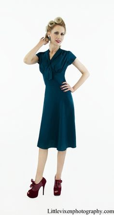 Nautical blue 40s style dress by #queenofheartz #vintage $130