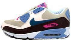 Nike Air Max 90 Women Grey Pink Blue Black training shoe