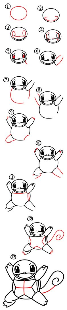 How to draw squirtle pokemon - art for kids hub - Easy Drawings For Beginners, Easy Drawings For Kids, Drawing For Kids, Cartoon Drawings, Cute Drawings, Chibi, Art For Kids Hub, Drawing Exercises, Famous Cartoons