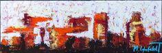 40x120 cm - Art by Lønfeldt - original abstract painting, modern textured art, colorful