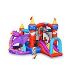 Dragoncastle with ball pit. Perfect for younger children.Also,a30-piece plasticball set is included! Fun basketball game. Provides plenty of fun and creative playing for your child.