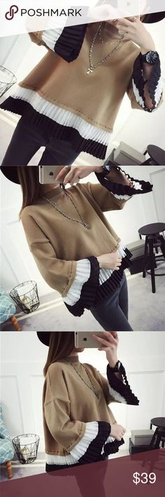 "Swing knit sweater Khaki. Material: acrylic. ONE SIZE. Length: 23.6"", bust -43"", sleeve length-14.2"", shoulder- 22 Sweaters"