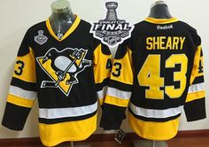Penguins #43 Conor Sheary Black Alternate 2017 Stanley Cup Final Patch Stitched NHL Jersey