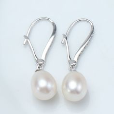 8-9MM Real Freshwater Pearl Water Drop Earrings 2016 Fashion Design 925 Silver With AAA Natural White Pearl Jewelry For Women. Starting at $1