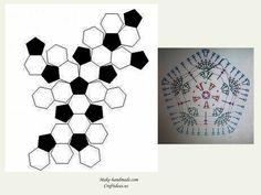 Crochet owl of african hexagone chart