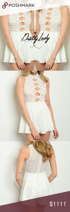 Coming soon Ivory nude romper Sleeveless front cut out detail crochet romper. 95% POLYESTER 5% SPANDEX Will provide more information once in Pants Jumpsuits & Rompers