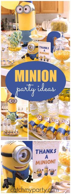 How fun is this Despicable Me Minion birthday party? See more party ideas at… Minions Birthday Theme, Minion Theme, 4th Birthday Parties, Boy Birthday, Cake Birthday, Birthday Ideas, Third Birthday, Kids Party Decorations, Party Ideas