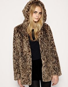 ASOS Leopard Faux Fur Coat with Hood