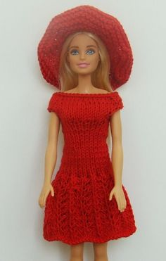 Set for Barbie deep red. It consists of a close fitting dress with bare shoulders and a lace skirt and hat. Doll in picture IS NOT INCLUDED! Dress only.   eBay!