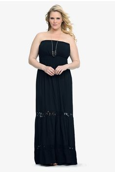 With crochet insets and trim, this strapless challis maxi is primed for trend-right spring looks. The ankle-sweeping silhouette is the perfect base for dressing up or down.