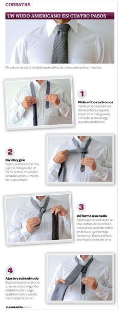 Infografia de un nudo americano.  Para el tema de la ropa. #la corbata