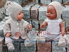 Knitting pattern fits dolls like Baby Born og Chou Chou Knitting Dolls Clothes, Crochet Doll Clothes, Doll Clothes Patterns, Knitted Doll Patterns, Knitted Dolls, Knitting Patterns, Knitting For Kids, Knitting Projects, Baby Knitting