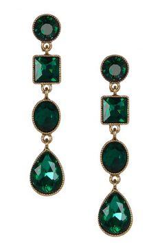 Multi-Geometric Green Resin Drop Earrings by Fall Trend: Rich Jewel Tones on @HauteLook