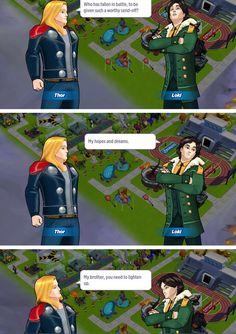 Loki and Thor/ avengers academy Marvel Memes, Marvel Avengers, Marvel Dc Comics, Marvel Fan Art, Loki Thor, Loki Laufeyson, Tom Hiddleston Loki, Nerd, Marvel Cinematic Universe