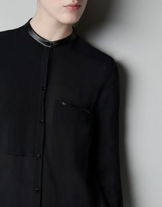 BLOUSE WITH FAUX LEATHER PIPING - Woman - New this week - ZARA