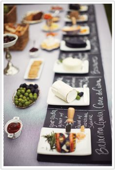 chalkboard plates/placemats for a tasting party