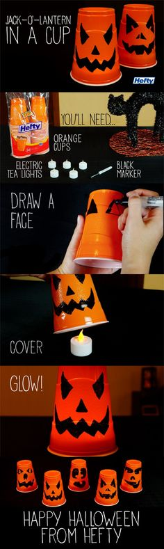 Get crafty with these simple but spooky halloween cups!
