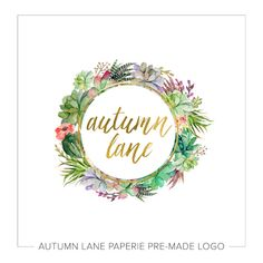 This listing is for a customizable pre-made Succulent Wreath Logo. Put your company's name on it today!