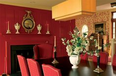 51 Ideas Wallpaper Red Farrow Ball For 2019 Casual Dining Rooms, Elegant Dining Room, Damask Wallpaper, Trendy Wallpaper, Farrow Ball, Dining Room Walls, Dining Room Design, Monochromatic Room, Traditional Dining Rooms
