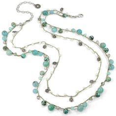 Sweet Romance Gemstone and Silver Beads Double Strand Necklace