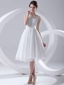 Vestido de novia de chifón blanco con escote barco arrugado hasta la pantorrilla