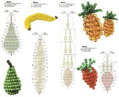 how to weave fruit Pony Bead Crafts, Seed Bead Crafts, Beaded Crafts, Beaded Ornaments, Beaded Flowers Patterns, Beading Patterns, Bead Jewellery, Seed Bead Jewelry, Beading Projects