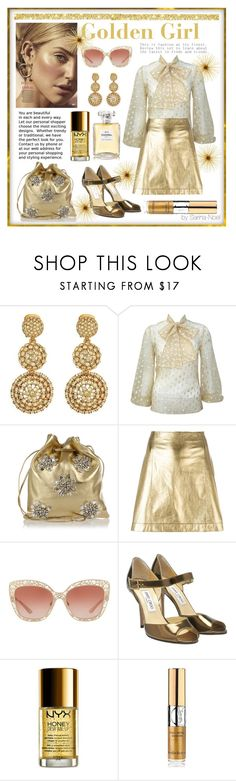 """Monochrome Gold - Golden Girl"" by sarina-noel ❤ liked on Polyvore featuring Oscar de la Renta, Miu Miu, Theory, Dolce&Gabbana, Jimmy Choo, NYX, Yves Saint Laurent and Chanel"