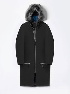 Shelter from winter. Snow parka with ponte-bonded shell and removable Toscana fur hood. Designed in NYC. Waterproof | Wind resistant | Modular