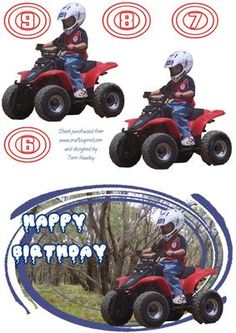 - Birthday card for any young person aged between 6 and 9 or any age if you put your own age on. Birthday Cards For Son, Wedding Stationary, Quad, Monster Trucks, Card Making, Greeting Cards, Make It Yourself, Children, Decoupage Ideas